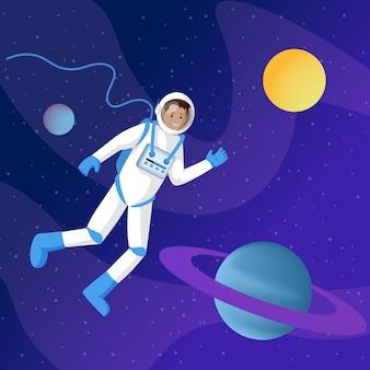 Männlicher astronaut im weltraum