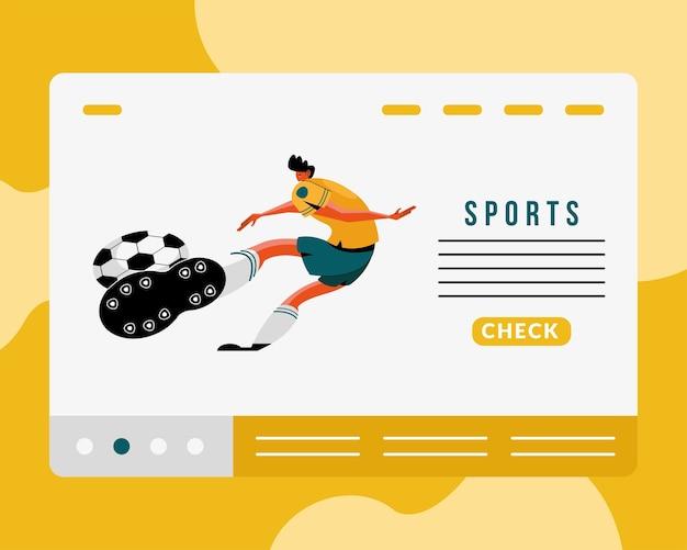 Männlicher athlet, der fußball-sportcharakter und beschriftungsillustrationsentwurf übt