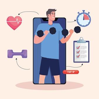 Männlicher athlet, der hanteln im smartphone mit fitness-lebensstilikonen-illustrationsentwurf anhebt
