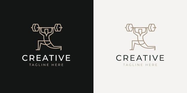 Männlicher athlet, der langhantel-linien-logo-design-vorlage hebt