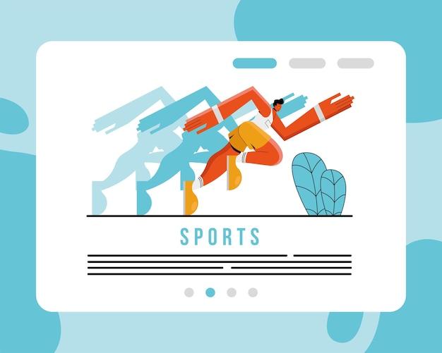 Männlicher athlet, der sportcharakter und beschriftungsillustrationsdesign läuft