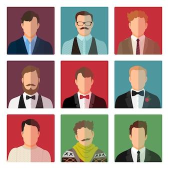 Männlicher avatar in verschiedenen kostümen