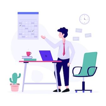 Männlicher avatar vor laptop, der geschäftsmannarbeitsvektor zeigt