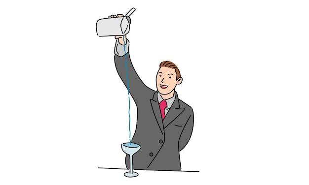 Männlicher barkeeper, der einen cocktail gießt