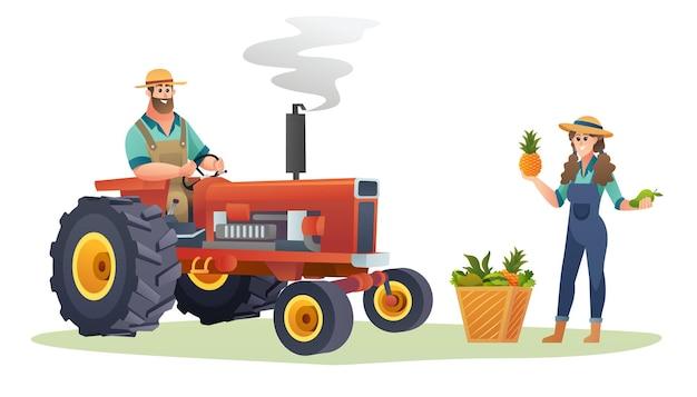 Männlicher bauer auf traktor und der weibliche bauer, der konzeptillustration der frischen früchte hält