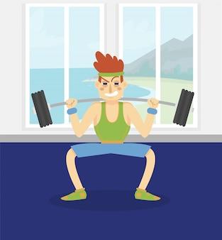 Männlicher bodybuilder, der mit einer langhantel trainiert, mann, der im fitnessclub oder in der turnhalle illustration, karikaturart ausarbeitet