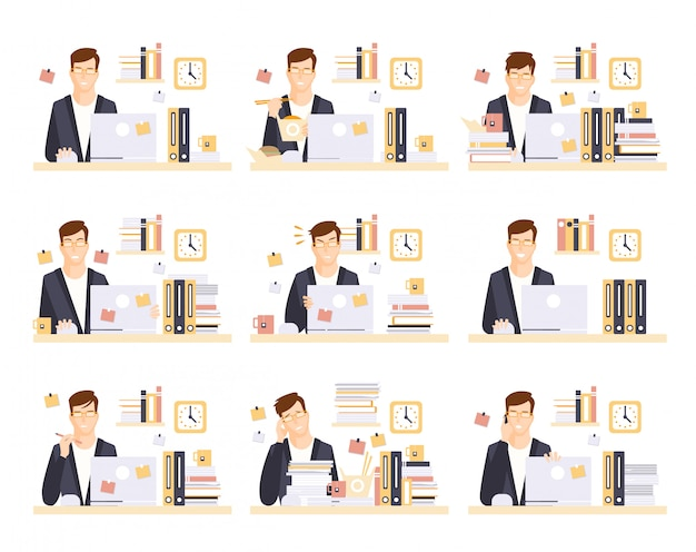 Männlicher büroangestellter in seinem kabinenarbeitssatz von illustrationen