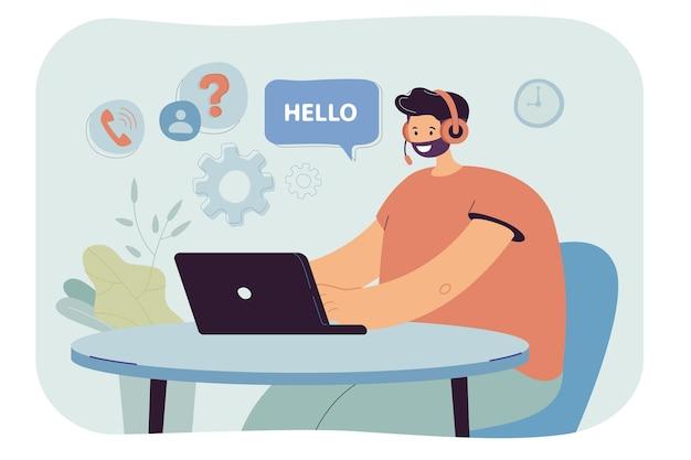 Männlicher callcenter-betreiber im headset, der am laptop arbeitet