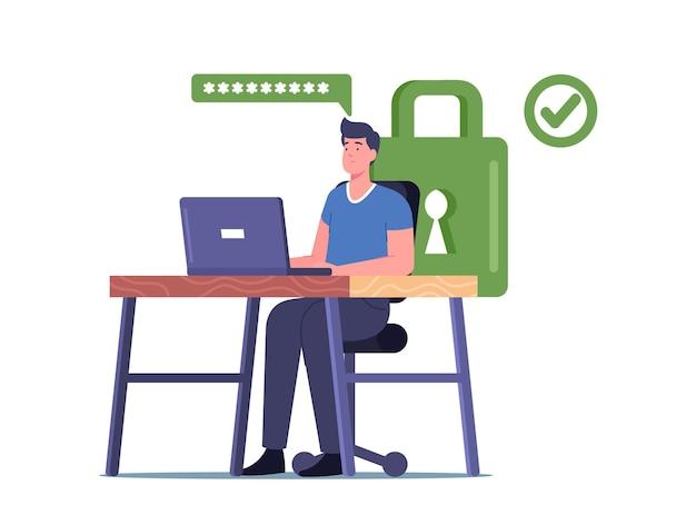 Männlicher charakter, der am schreibtisch in der nähe des grünen vorhängeschlosses sitzt und an einem laptop mit starkem passwort für profil- und internetkontozugriff arbeitet working