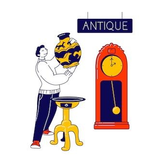 Männlicher charakter, der antiquitätenladen besucht