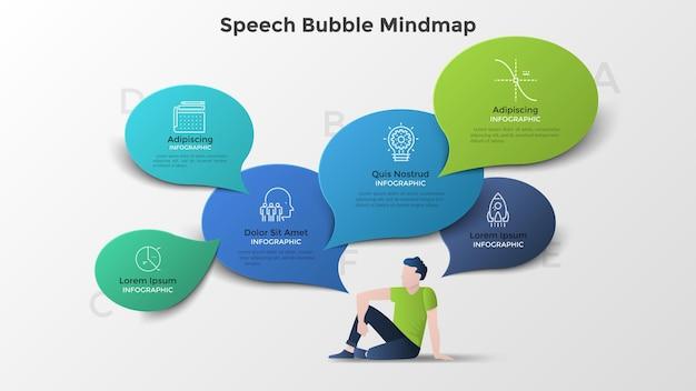 Männlicher charakter, der auf dem boden sitzt und von bunten papiersprechblasen umgeben ist. moderne infografik mindmap-vorlage. kreative vektorgrafik für business-präsentation, broschüre, banner.