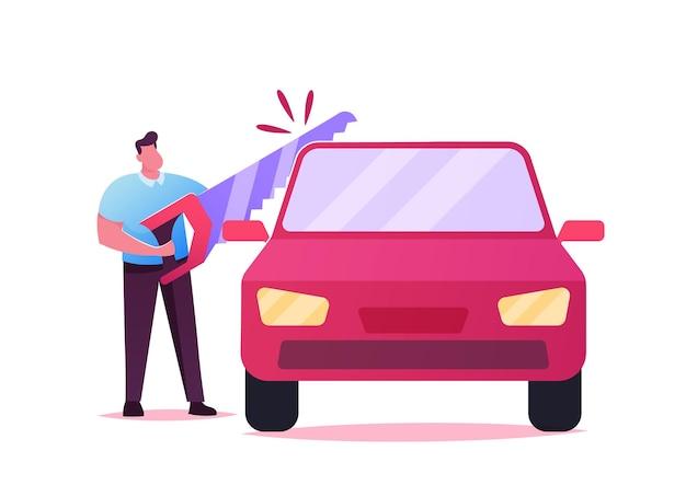 Männlicher charakter, der automobil mit riesiger säge sägt. darstellung der aufteilung des eigentums im scheidungsprozess