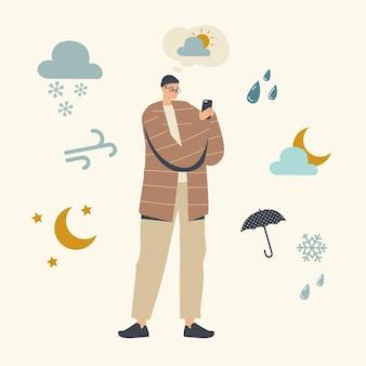 Männlicher charakter, der die wettervorhersage in der illustration der mobilen app beobachtet
