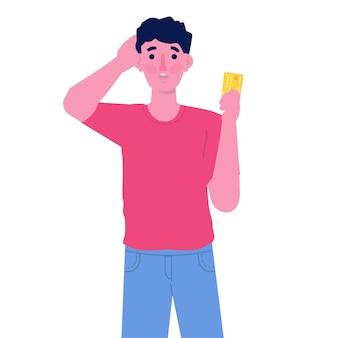 Männlicher charakter, der digitale zahlungskarte hält. zahlungsfehlerkonzept.