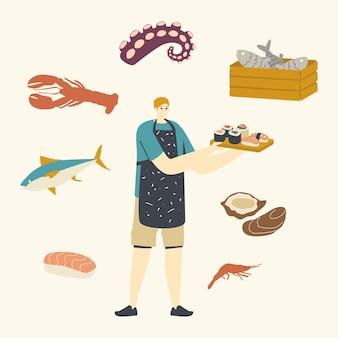 Männlicher charakter, der japan-lebensmittel-meeresfrüchte kocht, die sushi und brötchen präsentieren.