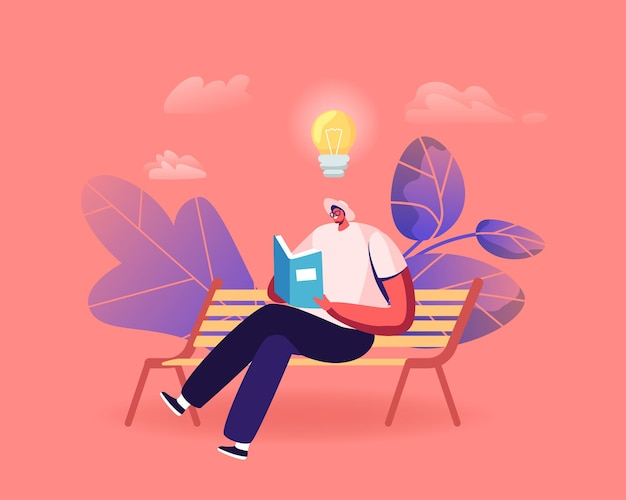 Männlicher charakter, der literatur liest, sitzt auf einer bank mit buch in den händen und glühbirne über dem kopf