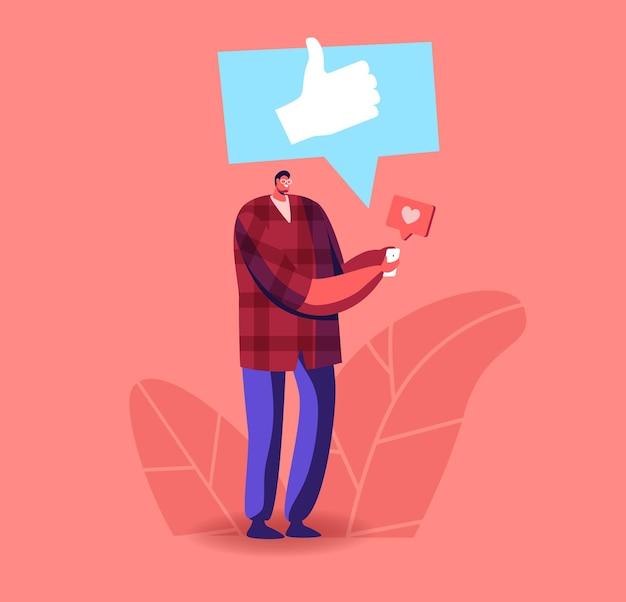 Männlicher charakter, der online in internetdiensten kommuniziert verwenden sie das gadget