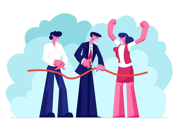 Männlicher charakter des geschäftsmanns oder des politikers halten schere, die rotes band schneidet