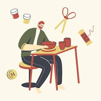 Männlicher charakter des keramiker-künstlers mit rad auf dem tisch, der ton herstellt, der tontopf macht