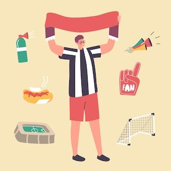 Männlicher charakter-fußball-fan, der einheitliche jubelt mit banner für die fußballmannschaft im stadion