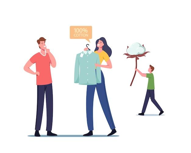 Männlicher charakter kaufen hemd aus baumwollfaser, ökologische natürliche kleidungsproduktion, organisches material zur herstellung von stoffen und zum nähen von kleidung, mann trägt blume. cartoon-menschen-vektor-illustration