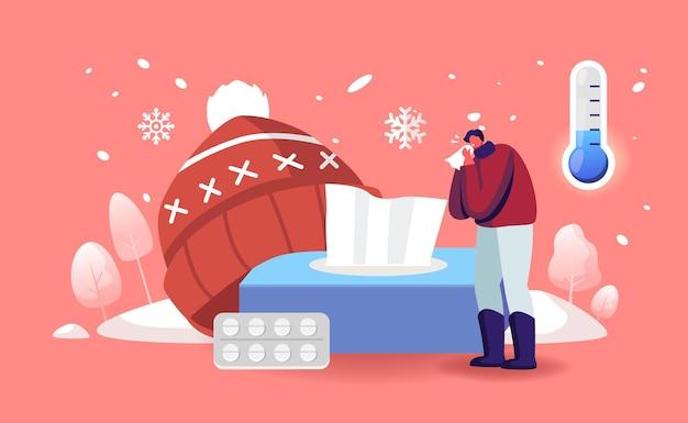 Männlicher charakter mit erkältungsallergiesymptomen niesen