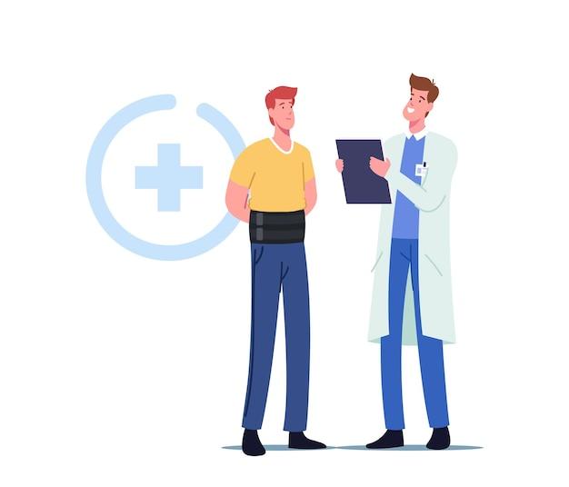 Männlicher charakter mit orthopädischem verband für rückenschmerzen oder hexenschuss-entzündungsbehandlung. skelettskoliose oder wirbelsäulenverformung medizinisches gesundheitskonzept. cartoon-vektor-illustration