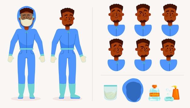 Männlicher charakter mit persönlicher schutzausrüstung im gesundheitswesen