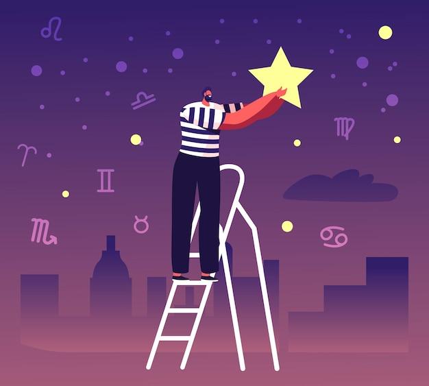Männlicher charakter stand auf leiter setzen sie stern auf nachthimmel mit tierkreiskonstellationen. karikatur flache illustration