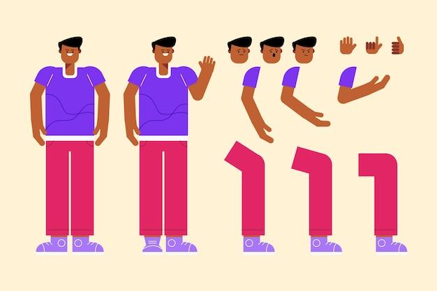 Männlicher charakter verschiedene posen