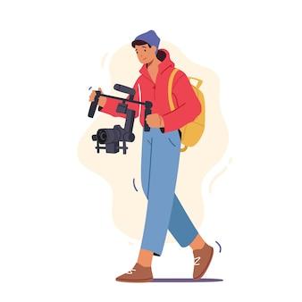 Männlicher charakter videographer oder blogger video-film auf kamera aufnehmen