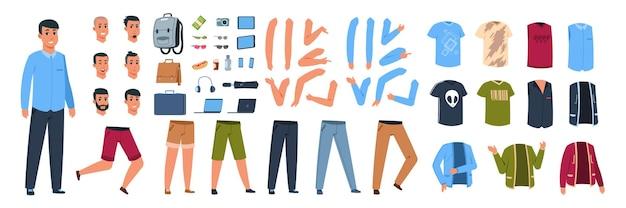 Männlicher charakterkonstruktor. cartoon-typ mit satz von verschiedenen freizeitkleidung und körperteilen mit posen und gesten. vektoranimation