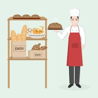 Männlicher chef mit bäckereiillustration