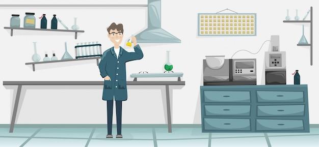 Männlicher chemiker mit einem kolben mit einer chemischen substanz in der hand. wissenschaftliches labor