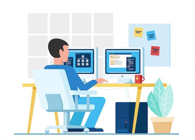 Männlicher codierer, männlicher programmierer, der computer mit zwei monitoren während der arbeit am projekt in der büroillustration verwendet