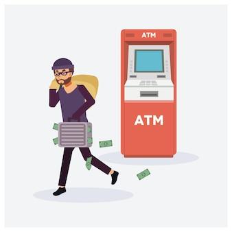 Männlicher dieb stiehlt geld von geldautomaten, roten geldautomaten, räuber in maske. kriminelle person.
