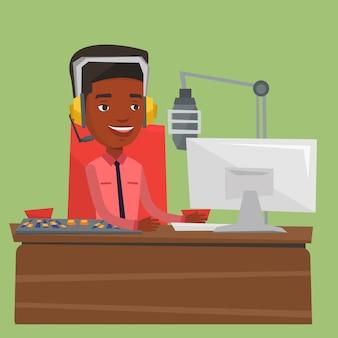 Männlicher dj, der an der radioillustration arbeitet