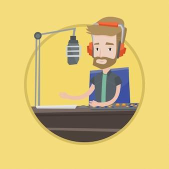 Männlicher dj, der an der radiovektorillustration arbeitet