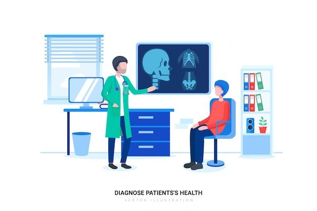 Männlicher doktor, der diagnose seinem männlichen patienten erklärt