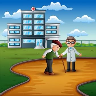 Männlicher doktor, der einem großvater mit einem stock hilft