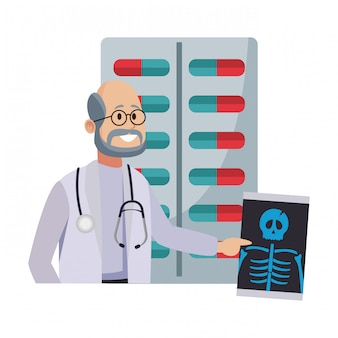 Männlicher doktor mit knochenröntgenstrahl