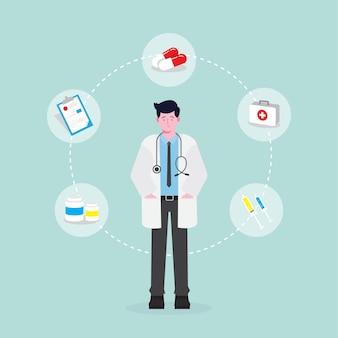 Männlicher doktorcharakter mit medizinischer zusammensetzung
