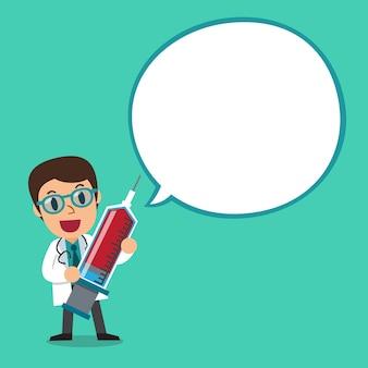 Männlicher doktorcharakter mit weißer spracheblase