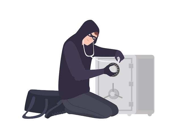 Männlicher einbrecher, der maske und kapuzenpulli mit stethoskop trägt, um safe oder tresor zu öffnen. diebstahl, einbruch oder einbruch