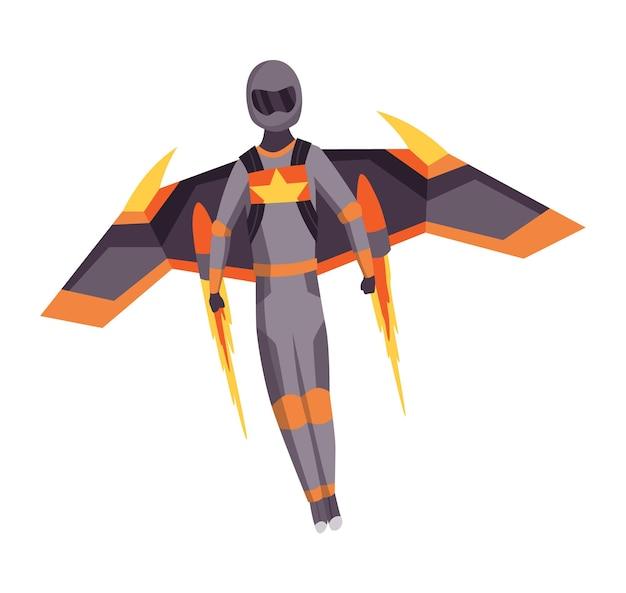 Männlicher fallschirmspringer, der mit sportgeräten fliegt. fallschirmspringen extremsport