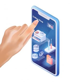 Männlicher finger klickt auf mobile application car shop