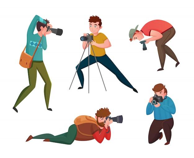 Männlicher fotograf in verschiedenen haltungen