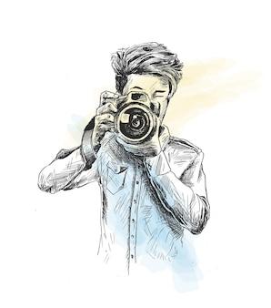 Männlicher fotograf mit kamera-hand gezeichneter skizzen-vektor