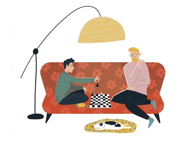 Männlicher freundcharakter spielen schwieriges schach, gemütliche raumplatzcouch auf weiß, illustration. person verbringen spaß zeitprüfer.