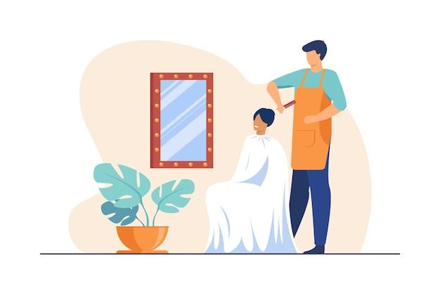 Männlicher friseur, der haar der frau bürstet. haarstylist mit kamm, kundin, flache illustration des arbeitsplatzes.